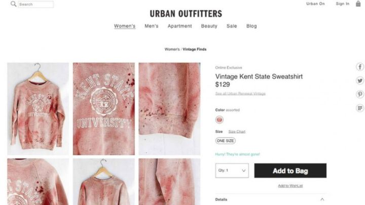 Urban Outfitters made a big mistake when it marketed this red-stained sweatshirt because it evoked the 1970s shootings on campus of Kent State students.